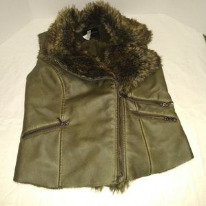 Maurice's Army Green Faux Leather Moto Vest
